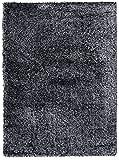 Alfombra De Salón Pelo Alto Y Largo Shaggy Moderna Colección Touch Me – Color Gris Oscuro Via Negro De Diseño Plano – Mejor Calidad – Varias Dimensiones S-XXXL 140 x 190 cm