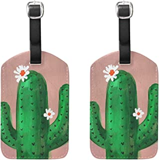 Luggage Tags Watercolor Blooming Cactus Womens Bag Suitcase Tags Holder traveling accessories 2 Piece