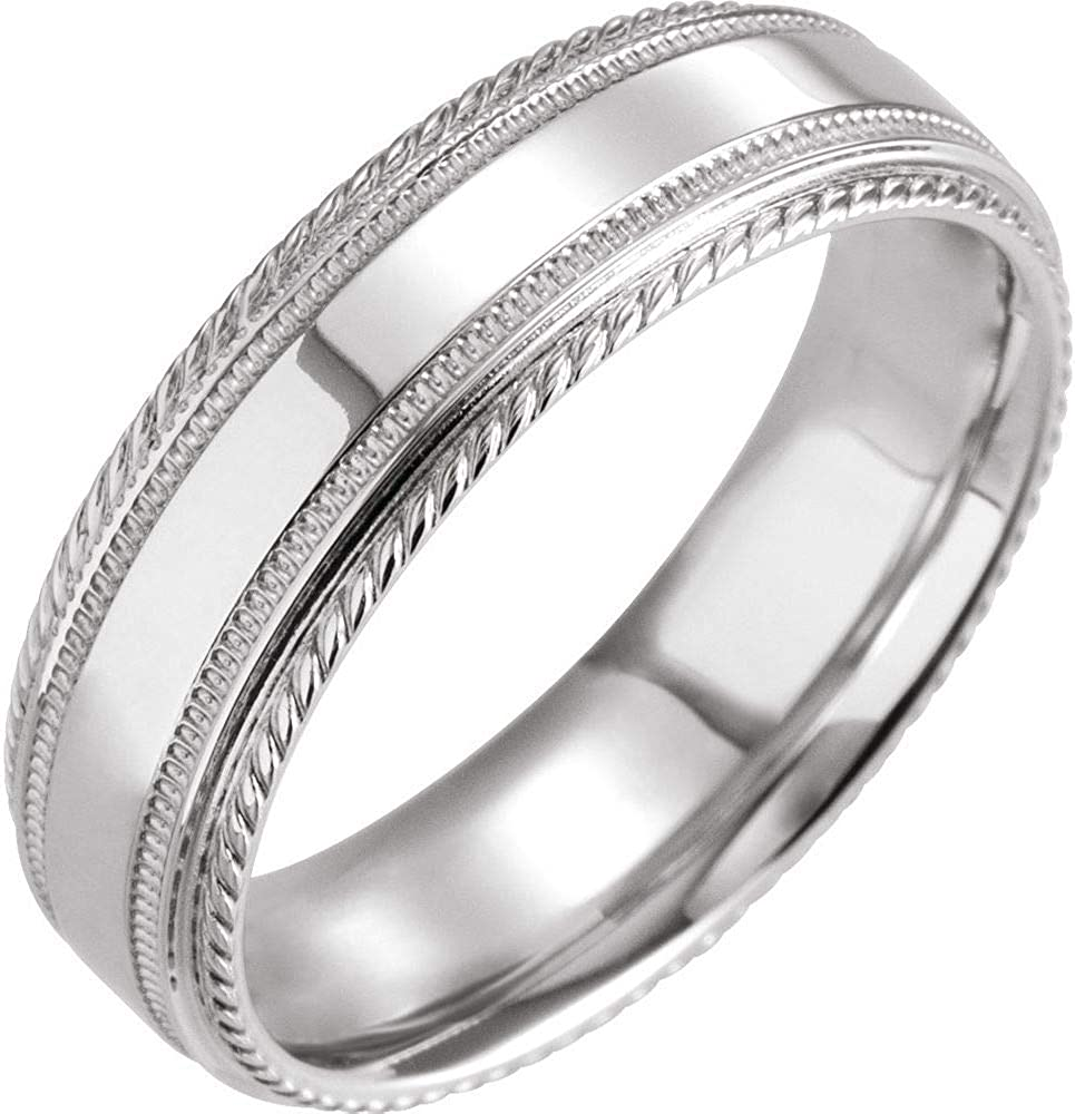 Solid 10k White Gold 6mm low-pricing Rope Ring Edge Pla Wedding High quality new Band Classic
