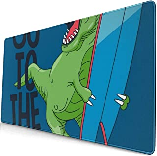 Mouse pad Large,Cool Surfer Dinosaur Vector Design with Surfboard Non-Slip Mousepad Computer & PC, 15.8x29.5 inches