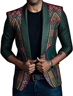 Oberora-Men Vintage Lapel One Button African Print Dashiki Business Blazer Suit Jacket