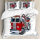 KIMDFACE Juego de Funda nórdica camión,Ayuda de Emergencia vehículos de la Brigada de Bomberos camioness de Transporte público de Bomberos,Juego de Cama Decorativo Gris