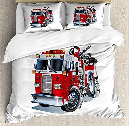 Juego de funda nórdica Truck 3 PCS, vehículo de bomberos, ayuda de emergencia para camiones con temas de transporte público de bomberos, juego de cama, colcha para niños / adolescentes / adultos / niñ