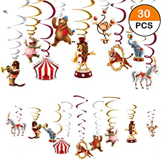 Carnival Hanging Swirl Decorations 30Ct,Carnival Circus Party Decorations,Circus Animals Party Supplies,Red & White Striped Design,Dizzy Dangler Hanging Streamers,Baby Shower,1St Birthday Party Decorations,Circo Birthday Favors,Baby Shower,1st First Bday Theme Decor