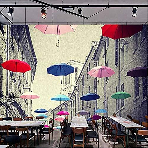 Europese Straat Paraplu Landschap Stijl Hd Art Print Muurschildering Grote Poster Foto Zijde Mural voor Slaapkamer Woonkamer R Aangepaste 3D Behang Plakken Woonkamer De Muur voor Slaapkamer Mural 200 cm.