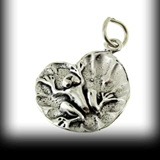 Frog On Floating Lily Pad Leaf 3D .925 Solid Sterling Silver Charm Pendant