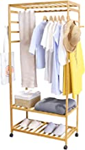 Rolling Coat Rack with Storage: Bamboo Coat Stand and Shoe Rack Coat Hanger Stand with 3 Shelves for Shoes Hats and Scarve...