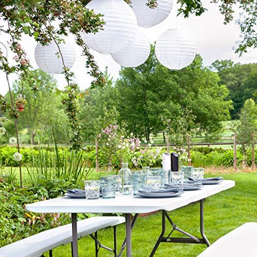 Vanage Gartenmöbel-Sets Bierbankgarnitur Fred Kunststoff, zusammenklappbar, weiß - 4