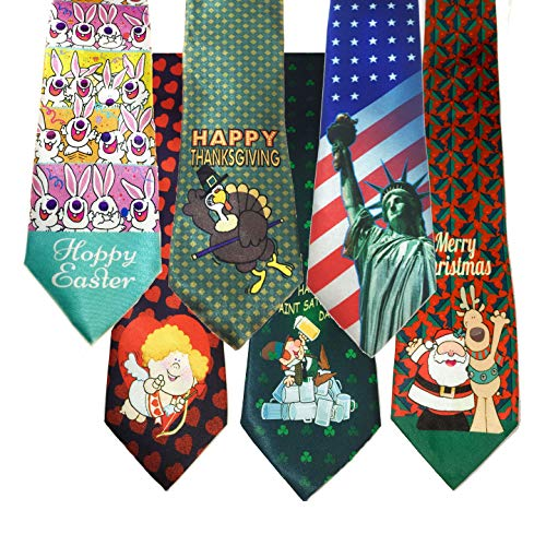 Product Image 1: Stonehouse Collection Men's Assorted Holiday Ties – 6 Fun Neckties – Tie Assortment – Christmas, Thanksgiving, Valentines, St Patricks, Easter, 4th of July