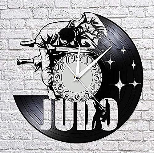 yltian Reloj de Vinilo de Artes Marciales japonesas, decoración del hogar, Reloj de Pared con Registro de Judo, Reloj de Pared sin Tic