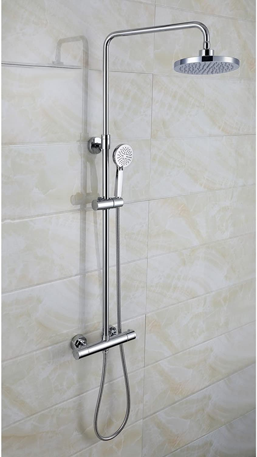 UKTAPSTORES - MODERN ROUND THERMOSTATIC WALL MOUNTED DUAL CONTROL RISER SHOWER MIXER TAP