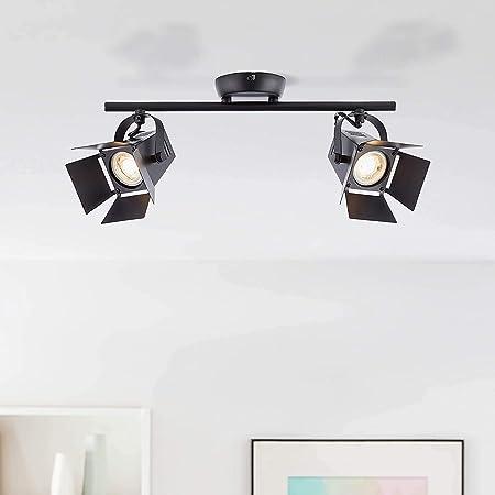 Plafonnier LED moderne - 2 x LED GU10 5 W incluses - 2 x 345 lm - 2900 K - Blanc chaud - Métal - Noir mat