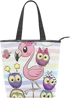 Mnsruu Große Segeltuch-Handtasche für den Strand, Reisen, Einkaufen, Schultertasche, niedlicher Cartoon-pinker Flamingo und fünf Eulen, Sommerurlaub, Reißverschluss-Handtasche für Damen und Mädchen