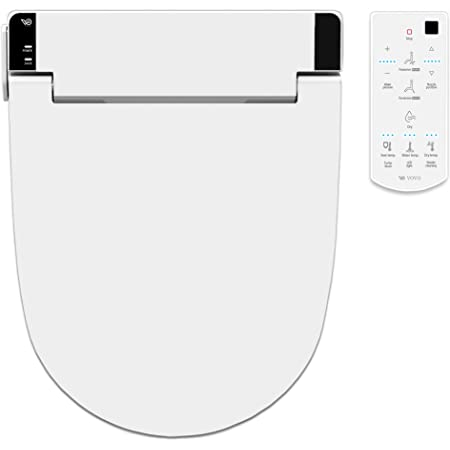 [New Arrival] VOVO STYLEMENT VB-6100SR Electronic Smart Bidet Toilet Seat, Heated Seat, Warm Dry and Water, LED Nightlight, One-piece Toilet Bidet Seat, Round - White