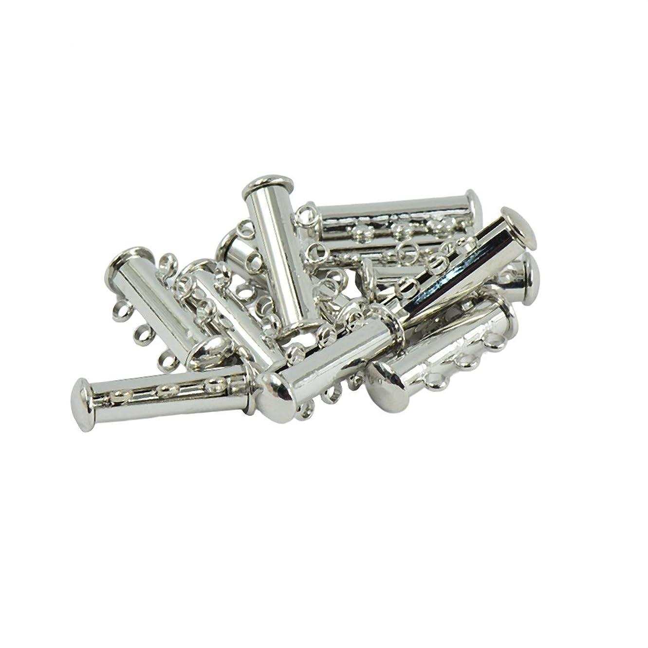 贅沢なまつげアスレチック10ピース 真鍮 3ストランド 磁気クラスプ スライド チューブ ロック 使いやすい 2色選ぶ - シルバー
