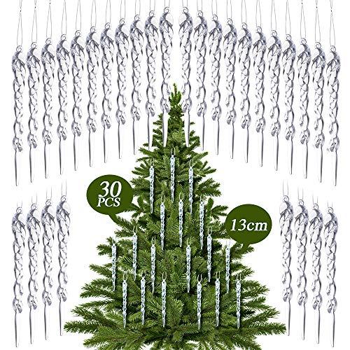 ornamenti stagionali 24 pezzi//set ornamenti in acrilico per ghiaccioli ornamenti in acrilico trasparente per appendere i ghiaccioli per la decorazione della festa nuziale dellalbero di Natale