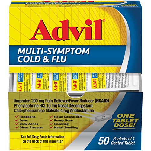 Advil Multi Symptom Cold and Flu Medicine, Cold Medicine for Adults with Ibuprofen, Phenylephrine HCL and Chlorpheniramine Maleate - 50 Coated Tablets