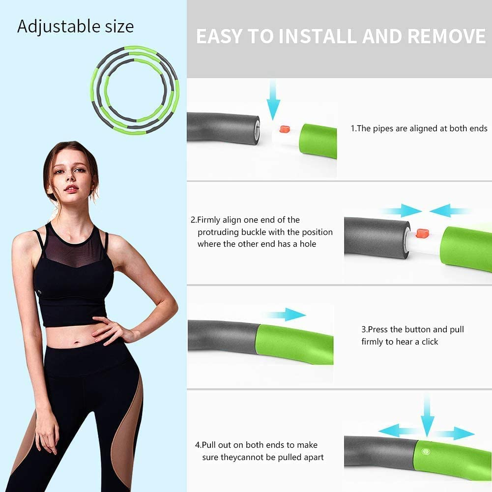 Aoweika Hula Hoop for Weight Reduction Adjustable Diameter Weighted Hula Hoop for Fitness Hoop with Foam with Mini Tape Measure 19-35 inch