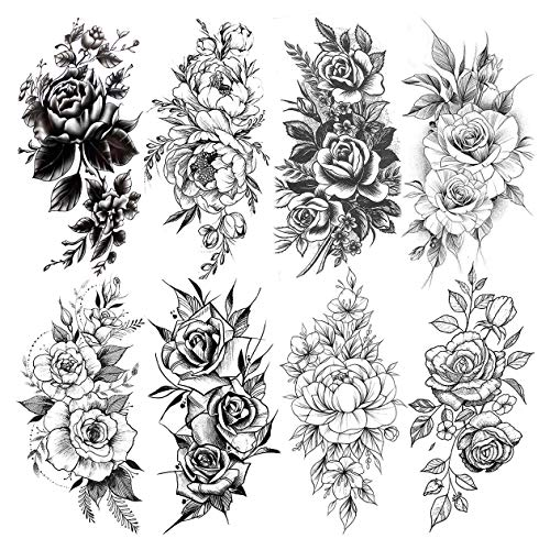 LAROI 8 Hojas Grande Rosa Tatuajes Temporales Flor Realista Peonía Pegatinas Cuerpo Arte Brazo Piernas Flora Impermeable Negro Tatuajes Temporal Mujer Adulto Niñas Señora Falsa Sexy Falsos Pecho
