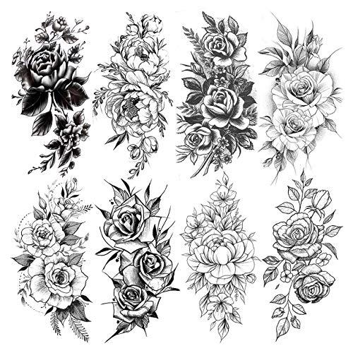 LAROI 8 Feuilles Réaliste Fleur Tatouage éphémère Femme Grande Pivoine Rose Tatouages Temporaires Autocollants Bras Jambes Flore Imperméable Noir Tatouages Temporaires Filles Adultes Sexy Faux Tattoo