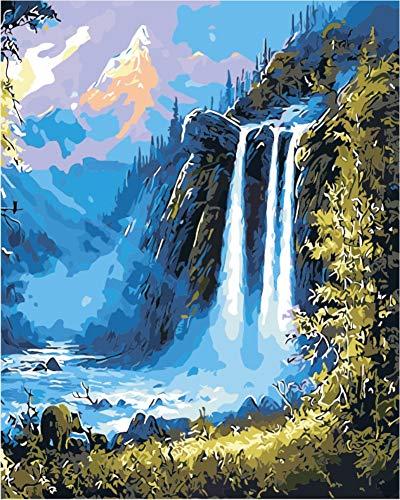 WOWDECOR Pintura por números Kits, Diy Pintura al óleo - Cascada Montaña Bosque Paisaje 16x20 pulgadas (X7017, Sin marco)