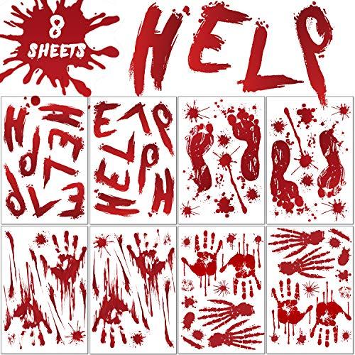 EasyAcc Halloween Aufkleber Realistisch Sticker Blutige Handabdrücken Fußabdrücken Horror Deko für Halloweenparty Fenster Spiegel Badewanne Spukhaus Dekoration (8 Paket)