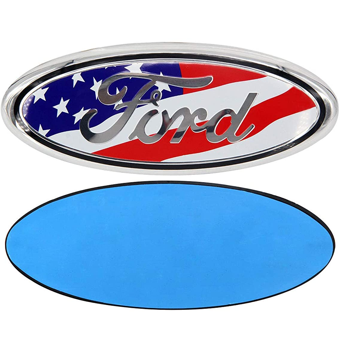 Guzetop for Ford 7 Inch Front Tailgate Emblem,Decal Badge Nameplate for Ford Escape Excursion Expedition Freestyle F-150 F-250 F350 (American Flag)