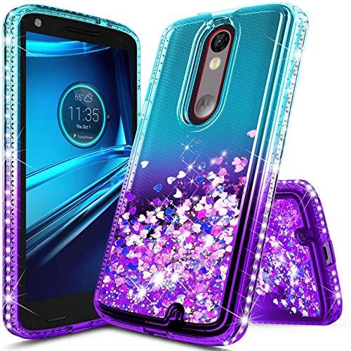 NZND Case for Motorola Droid Turbo 2 (Verizon XT1585), Sparkle Glitter Flowing Waterfall Liquid Floating Quicksand Diamond, Durable Cute Case (Aqua/Purple)