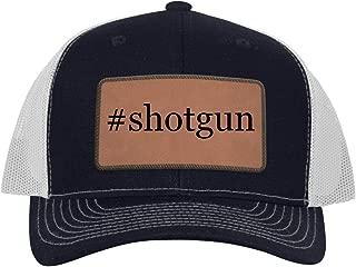 One Legging it Around #Shotgun - Leather Hashtag Dark Brown Patch Engraved Trucker Hat