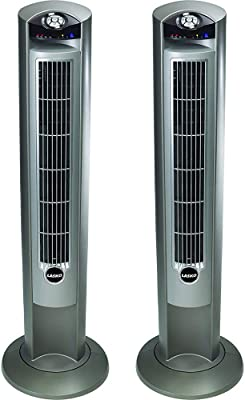 Lasko 2551 Wind Curve Platinum 42-Inch 3-Speed Tower Fan with Remote Control 2 Pack, SILVER