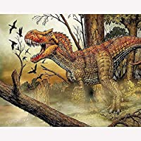 QGHMV 5D Diyダイヤモンド刺繡恐竜動物フルダイヤモンド画像付きモザイクダイヤモンド絵画恐竜の装飾家の壁の装飾ギフト40X50cm(LF2079)