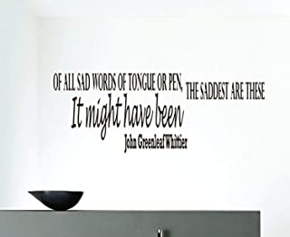 Wall Vinyl Decal Quote Sticker Home Decor Art Mural of All sad Words of Tongue or Pen John Greenleaf Whittie NG124