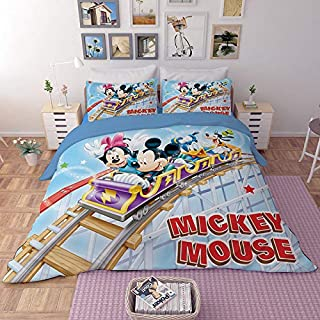 EVDAY 3D Mickey Minnie Mouse Donald Duck Kids Bedding Set Including 1Duvet Cover,2Pillowcases King Queen Full Twin Size