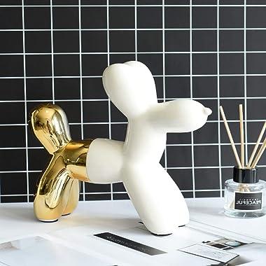 MingHaoyu Balloon Dog Sculpture Ceramic Dog Statues Home Decor Accents Dog Figurine Modern Sculpture,Bookself TV Stand Decor,
