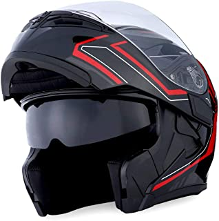 1Storm Motorcycle Modular Full Face Helmet Flip up Dual Visor Sun Shield: HB89 Arrow Red