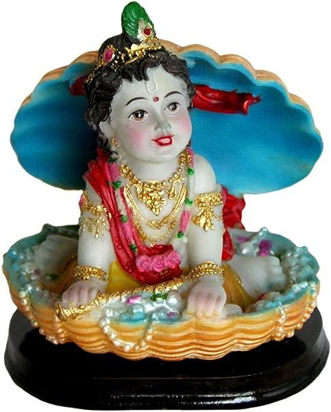 Cute Baby Krishna In A Clam Shell Statue 4 3 Indian Hindu Murti Art Decor Golu Doll
