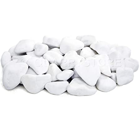 Ideal for Arts and Craft Projects Kitchens Features 1kg Approximately 10mm to 30mm in Size Bathroom Quarrystore White Marble Pebbles Ideal Outside Decorative Stones for Plant Toppers
