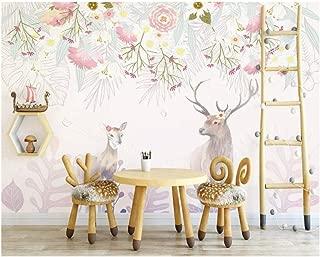 Jiling Silky Hand-Painted Elegant Flower Cluster Elk Sofa Indoor Tv Background Wallpaper @320X240Cm