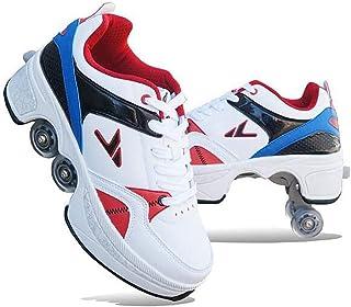 أحذية التزلج ذات العجلات الرباعية القابلة للتعديل، أحذية متعددة الأغراض 2 في 1، أحذية المشي للبنات والأولاد عجلات أحذية ري...