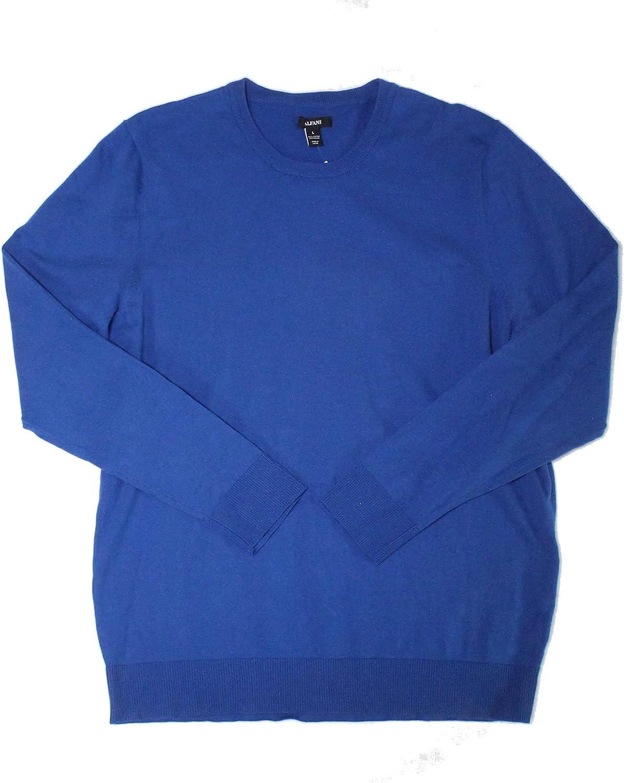 Alfani Indefinitely Mens Sweater Large Pullover New mail order Blue L Long-Sleeve Crewneck