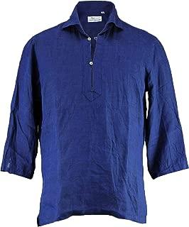 [Mario Muscariello マリオムスカリエッロ] メンズ リネン 七分袖 カプリシャツ CAPRI 3/4 WASHED R2MC147(ネイビー)