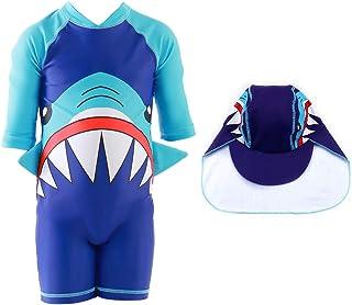 Swimsuit for Boys Shark Design Long Sleeve with Cap (UPF 50+) blocks 99% of UV Radiation