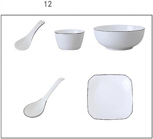 Plat Set Ménage 4 Porcelaine Os Simple Combinaison Plats 6 Japonais Céramique Créative Vaisselle Plat Bol Nordique,C