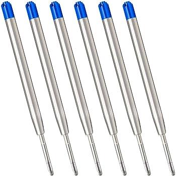 Blue Ink Refills (6pcs), Replaceable Ballpoint Pens Refills, 1mm Medium Tip - Blue