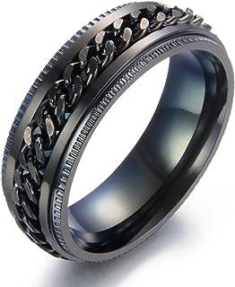 تياني خواتم دوارة من الفولاذ المقاوم للصدأ للرجال النساء 8 مم تصميم سلسلة خواتم الزفاف