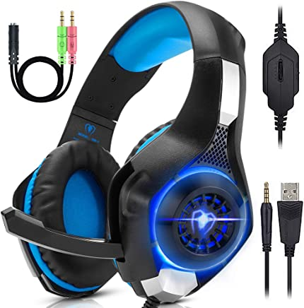 ANTOPM Cuffie Gaming per Xbox One PS4 Nintendo Switch con Microfono LED Headset Gaming PC USB Bass Stereo Surround Sound, Cancellazione del Rumore, Controllo del Volume - Trova i prezzi più bassi