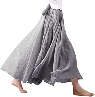 Women Bohemian Cotton Linen Double Layer Elastic Waist Long Maxi Skirt
