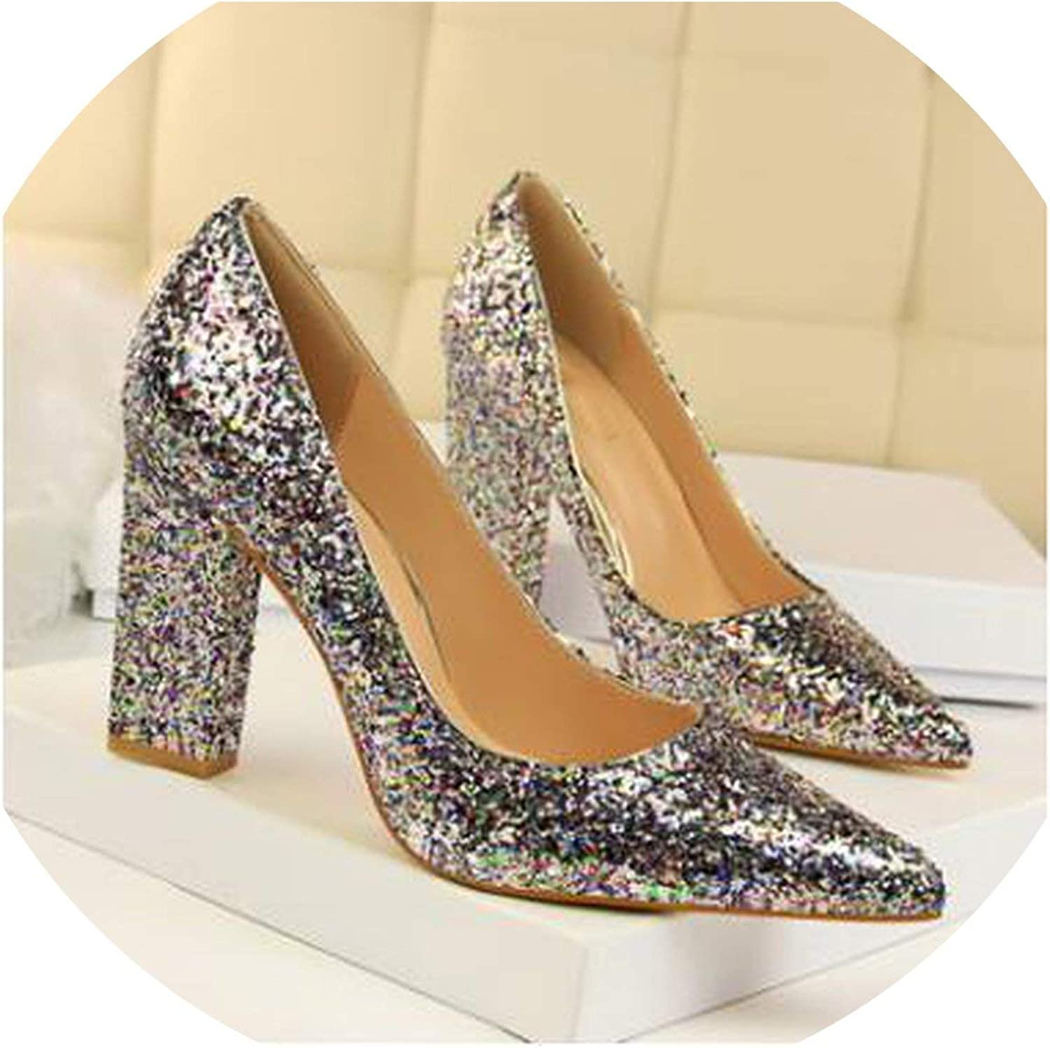 Thick Heels Sequined Glitters Shiny Point Toe High Heels Pumps shoes Nighclub shoes
