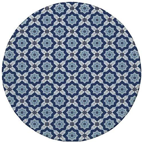 Rutschfreies Gummi-Rundmaus-Pad Indigo ethnisch orientalische marokkanische antike Fliesen wie Bildblumendetails dunkelblau türkis und weiß 7.9