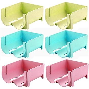 WSERE Lot de 6 Rangement Bouteille Réfrigérateur, Porte-Bouteille Empilable Support Casier à Bouteille en Plastique pour Ranger de Vin ou d'Eau Bleu+Rose+Vert (2 Bouteilles Chacune)